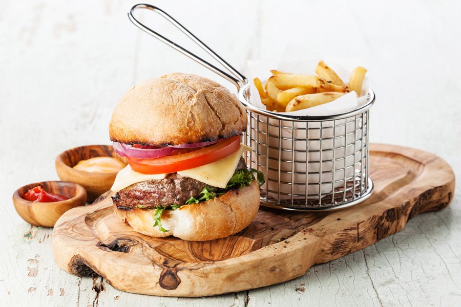 Burger-and-Fries-on-Wooden-Board
