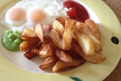 home-cooked-chips-double-yolk-egg